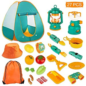 KAQINU 27 PCS Kids Camping Set, Pop Up Play Tent with Kids Camping Gear Toys, Indoor and Outdoor Camping Tools Pretend…