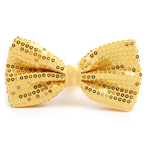 Shiny Sequined Banded Bow Tie (Gold Sparkle Bow Tie)