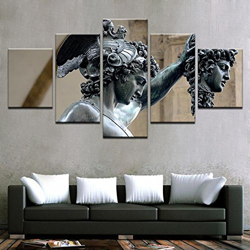 [LARGE] Premium Quality Canvas Printed Wall Art Poster 5 Pieces / 5 Pannel Wall Decor Perseus Medusa Slayer Painting, Home Decor Pictures - With Wooden (Medusa Home Decor)