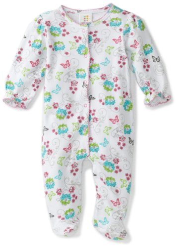 ABSORBA Baby-Girls Newborn Striped Floral Footie