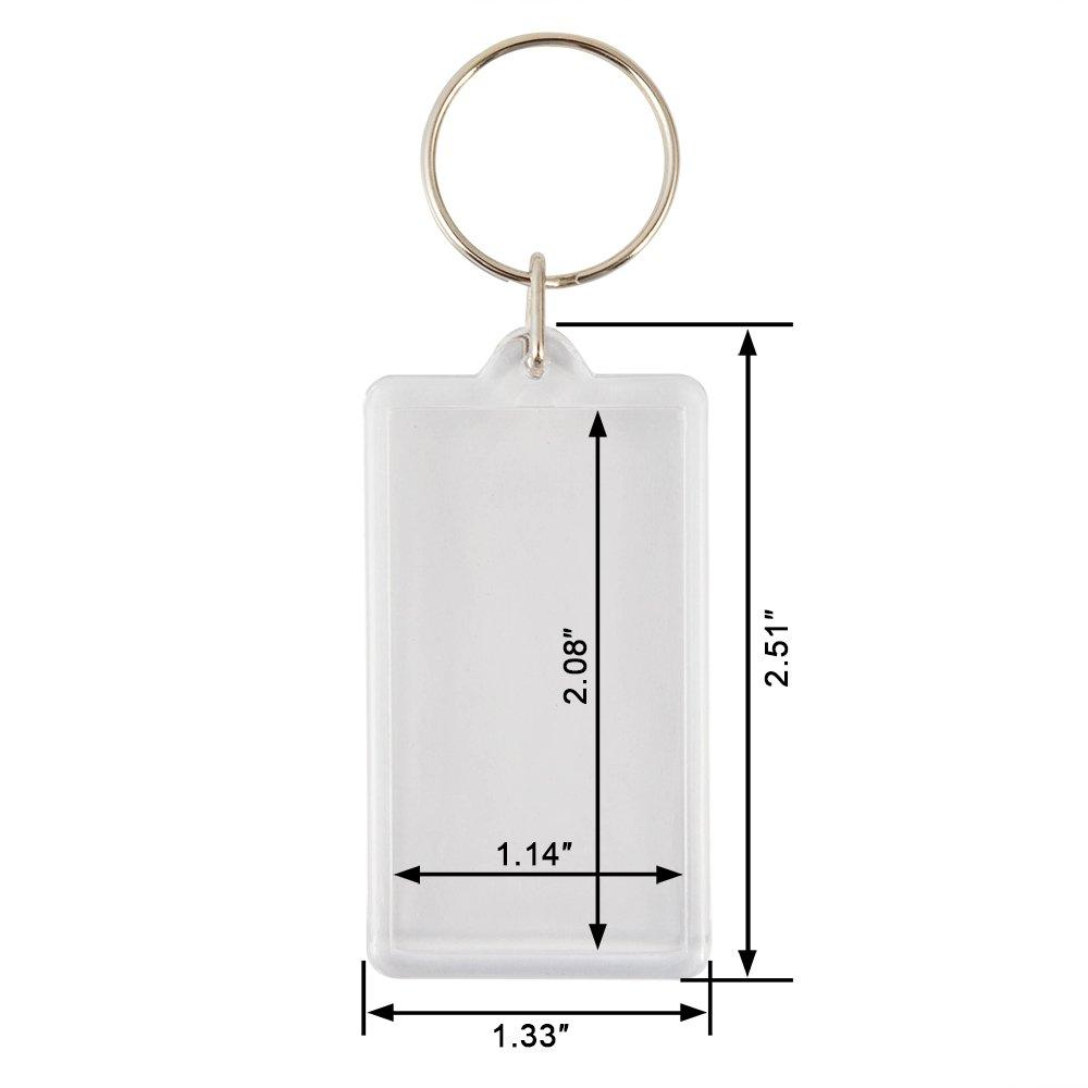 Size:2.51x1.33 GMS-US XT001224 100pcs Custom Personalised Insert Photo Acrylic Blank Keyring Keychain Wholesale