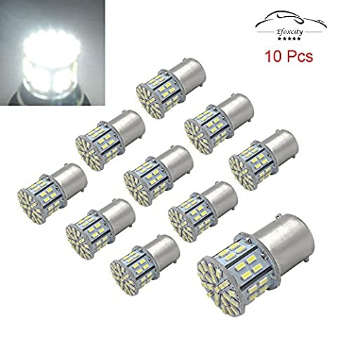 Efoxcity 12V 1156 10 Pack Bright 1156 1141 1003 50-SMD White LED Bulbs For Car Rear Turn Signal lights Interior RV (1156 Led Bulb Replacement)