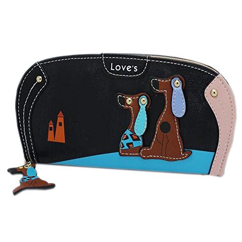 Women Clutch Wallet,Welegant Puppy & Dog Long Purse Organizer with Card Holder & Zipper Continental (Black) ()