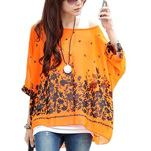 Relaxed Stampato Casual Colour Chiffon Blouse Tunica Pipistrello Mare Bluse 15 Estivi Shirts Top Accogliente Manica Elegante Donna Leggero Stlie Grazioso qxzfRXw