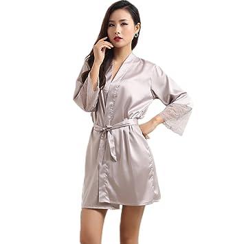 XUANLI Mujer Kimono Batas de Cuello V Satín Camisón Color Puro Estilo Corto con Encaje (Gris-Large): Amazon.es: Hogar