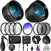 Kit de accesorios esenciales de 52 mm para el paquete Nikon DSLR con lente de gran angular y teleobjetivo Vivitar