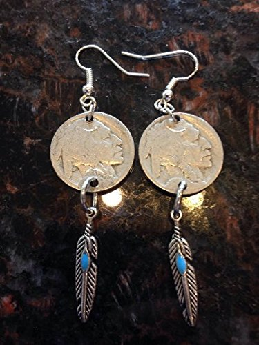 Studded Coin (Buffalo Nickel earrings with turquoise studded feathers)