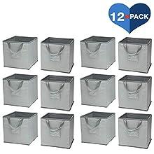 Delta Children 12 Piece Foldable Storage Cubes/Bins, Dove Grey