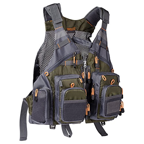 Bassdash Strap Fishing Vest Adjustable for Men and Women, for Fly Bass Fishing and Outdoor Activities Army Green