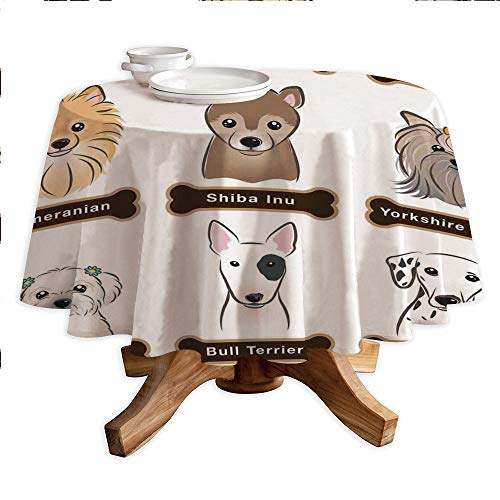 (Dog Lover Decor Round Polyester Tablecloth,Various Type of Dogs Nameplate Boston Terrier Domestic Animal Faithful Loyal,Dining Room Kitchen Round Table Cover,55