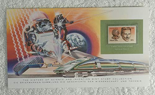 Nikola Tesla - Postage Stamp (United States, 1983) & Art Panel - The History of Science & Invention - Franklin Mint (Limited Edition, 1986) - Induction Motor Alternating Current, Electricity, Electrical Engineer