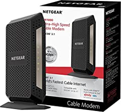 The CM1000 Ultra-High Speed Cable Modem, with speeds up to 1Gbps and DOCSIS 3.1 is 10X faster than DOCSIS 3.0 devices. It's backward compatible with DOCSIS 3.0 and ready for future service plan upgrades. A Gigabit Ethernet port provides faste...