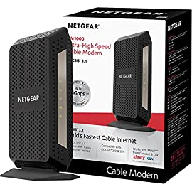 NETGEAR DOCSIS 3.1 Gigabit Cable Modem. Max download speeds of 6.0 Gbps, For XFINITY by Comcast, Spectrum, and Cox. Compatible with Gig-Speed from Xfinity (CM1000) 3 Support all cable internet speed tiers, up to Gigabit (1000 Mbps) service. Separate router required for WiFi. DOCSIS 3.1 up to 10X faster download speeds than DOCSIS 3.0. DOCSIS 3.1 is OFDM 2x2+ DOCSIS 3.0 32x8 channel bonding ELIMINATE MONTHLY CABLE MODEM RENTAL FEES - Up to $120 per year;32 downstream and 8 upstream channels for DOCSIS 3.0 connection
