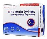 BD Ultra-Fine Insulin Syringes 31G 1/2cc 6mm 90/bx