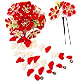 KYOETSU Women's Japanese Hair Ornament Set Kanzashi for Kimono Comb Prong 7w8200 (Red)