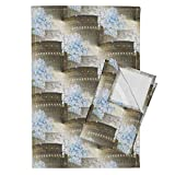 Roostery Rome Tea Towels Rome Coliseum With Blue Hydrangeas by 13Moons Design Set of 2 Linen Cotton Tea Towels
