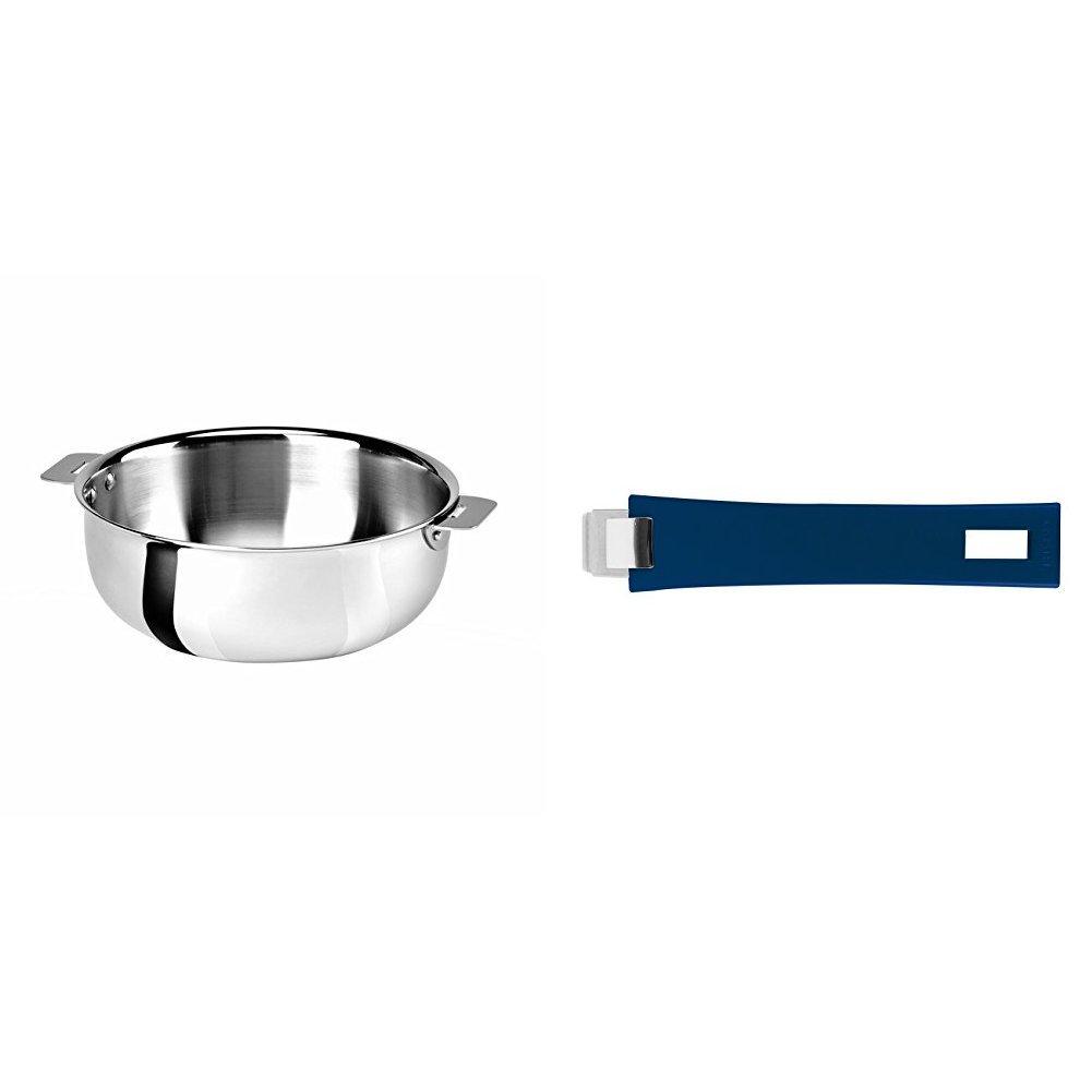 Cristel SR22QMP Saucier, Silver, 3 quart with Cristel Mutine Pmaeb Handle, Long, Blue Ink