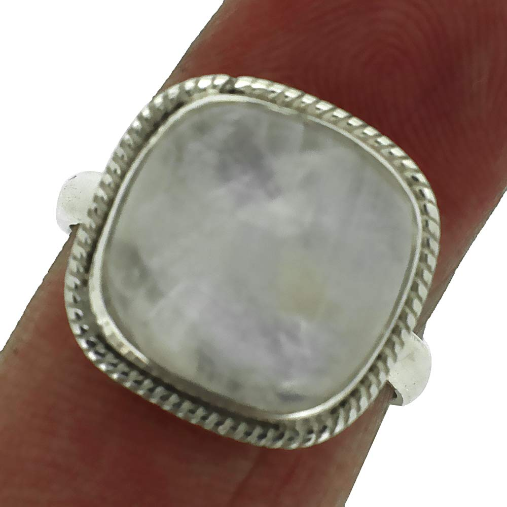 Eshopee 6Gm Welo Fire Rainbow Moonstone Silver Ring, Cabochon Ring, Handmade Ring, Solid 925 Sterling Silver Ring, US Size 8.5