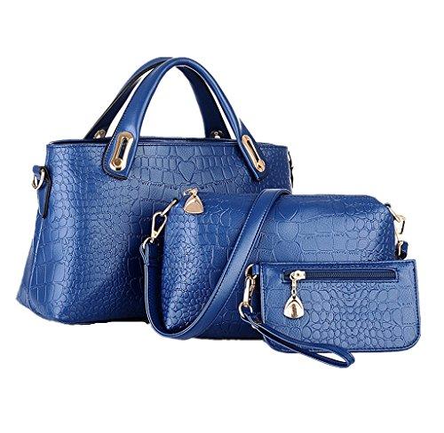 Women Cute Owl Pattern Small Shoulder Bag Blue Faux Leather Cross Body Bag - 1