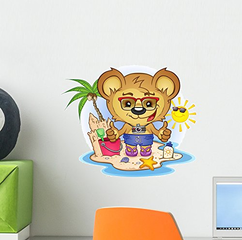 toon Wall Decal by Wallmonkeys Peel and Stick Graphic (12 in W x 10 in H) WM262027 (Teddy Bear Wall)