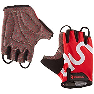 BOODUN Shock-Absorbing Gel Pad Breathable Half Finger Mountain Bicycle Bike Road Racing Gloves, Red with White Logo, Large