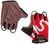 red and white cycling gloves - BOODUN Shock-Absorbing Gel Pad Breathable Half Finger Mountain Bicycle Bike Road Racing Gloves, Red with White Logo, Medium