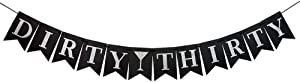 Dulcet Downtown Dirty Thirty Black Cardstock Banner with Silver Letters
