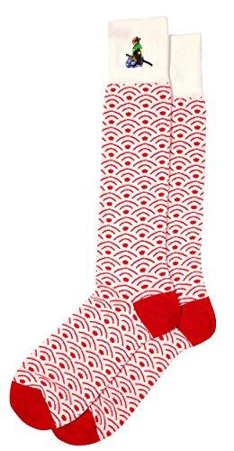 Unique Japanese Patterned Men's Pima Cotton Dress Socks, Full ()