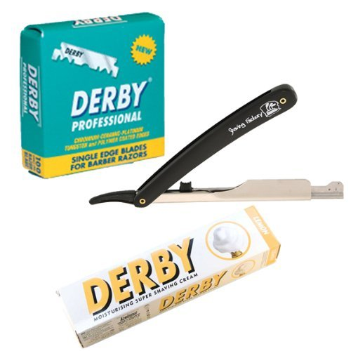 SF209-Shaving Factory Straight Razor (Black), 100 Derby Professional Single Edge Razor Blades and Derby Shaving Cream (Lemon scent). Great Valentines Day Gift Set For Men. -