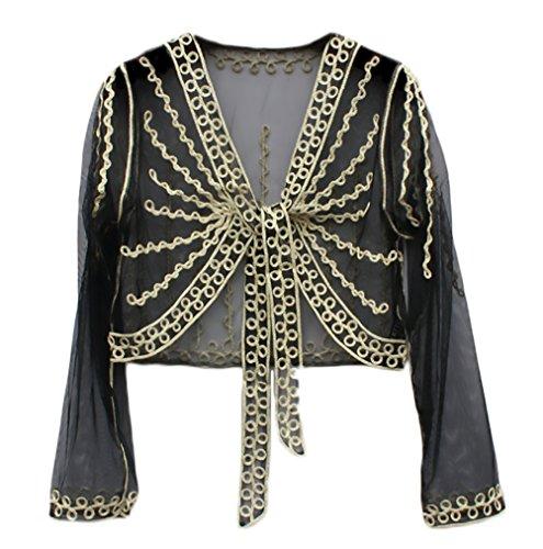 Cardigan Donna Estivo Elegante Manica Lunga Trasparente Pizzo Sottile Stola Da Cerimonia Abbigliamento Coprispalle Bolero Top Nero 1