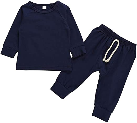 Infant Toddler Boy Tracksuit Tops Trousers Outfits Set Blue