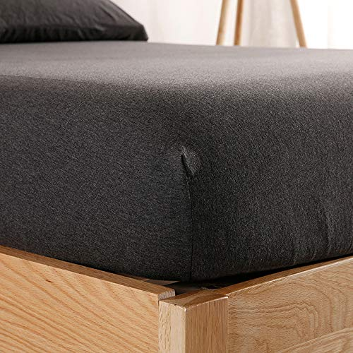 "PURE ERA Jersey Knit Cotton Fitted Bottom Sheet ONLY (No Flat Sheet or Shams) Deep Pocket Up to 15"" to 20"" Ultra Soft Comfy Breathable Charcoal Black King"