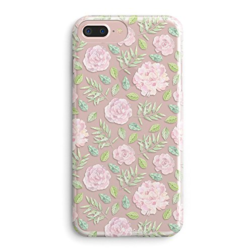 Phone 7 Plus Case,Girls Flowers Women Daisy Blossom Spring Floral Garden Pattern Vintage Roses Pink Cute Clear Design Soft Women Case for iPhone 7 Plus/iPhone 8 Plus ()