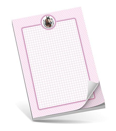 Schreibblock A5 PFERD ROSA • 50 Blatt kariert DIN A5 (148,5x210 mm) Notizblock / Block / für Schulkinder / für Schlaufüchse / Malblock