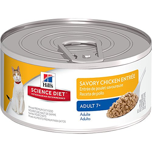 Hill's Science Diet Senior Wet Cat Food, Adult 7+ Savory Chicken Entrée Minced Canned Cat Food, 5.5 oz, 24 Pack by Hill's Science Diet
