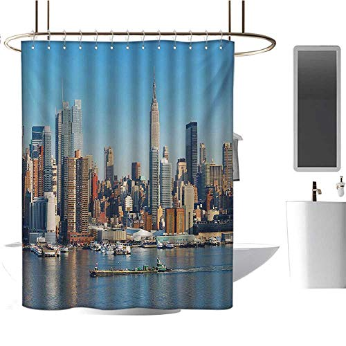 New York Shower Curtain Customized Urban City Skyline Manhattan with Empire State Building Over Hudson River Panorama Satin Fabric Bathroom Washable Blue Grey