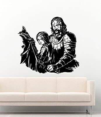 Awesome Decal Game Of Thrones Sandor Clegane and Arya Stark on Horse Vinyl Wall Decals Movie Film The Hound Winterfell Stickers Vinyl Decor Murals MK3024