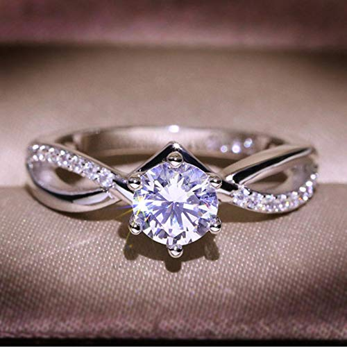 joysale Rings for Women Girls, Rhinestone Women's Engagement Rings Diamond Band Rings Exquisite Rings Wedding Ring Jewelry Gifts (Silver, 8)