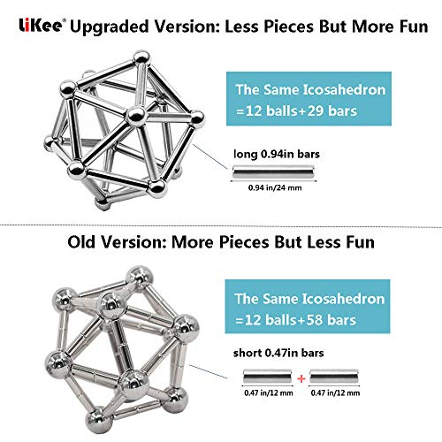 LiKee Upgraded 108 Pieces Magnetic Sculpture with Ultra- Long 0.1in Bars, Magnet Fidget Toys Building Block for Stress Relief, Office and Home Desk Decor, Cool Gadget for Adult (Silver, 108 Pieces) by LiKee (Image #2)