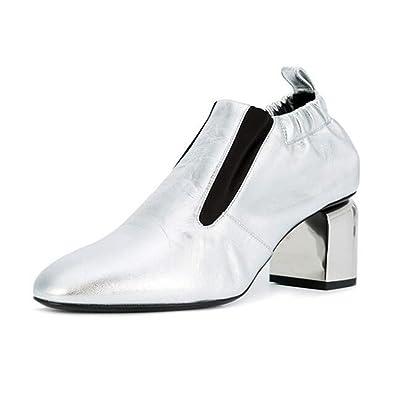 Chaussures pour femmes Cuir véritable Couleur mélangée Collier élastique Bloquer le talon Pompes Taille 36To39