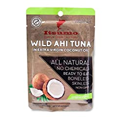 Itsumo Wild Ahi YellowFin Tuna in Extra Virgin Coconut Oil is slow cooked and hand pulled from the wild tuna fish. We also use sustainable fishing techniques to preserve fish stock for future generations. We then select the best quality cocon...