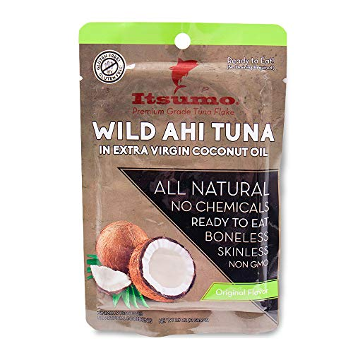 (Tuna Fish - Itsumo Wild Ahi Tuna in Extra Virgin Coconut Oil (Pack of 1) - Healthy Premium Grade Yellowfin with All Natural Ingredients - Paleo & Gluten Free Protein Snack Pouches)