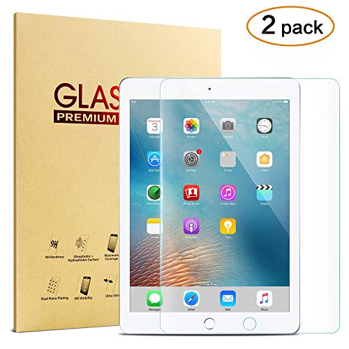 [2-Pack] iPad Tempered Glass Screen Protector for New 2018 2017 iPad 9.7 inch/iPad Pro 9.7 / iPad Air 2 / iPad Air, KVAGO High Definition Clear 9H Hardness Scratch Resistant Screen Protector