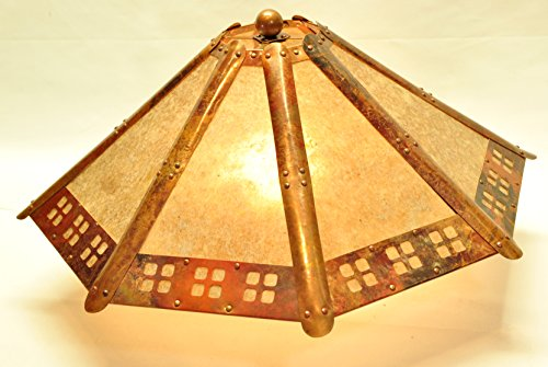 Copper and Clear Silver Mica 8 Panel Lamp Shade with
