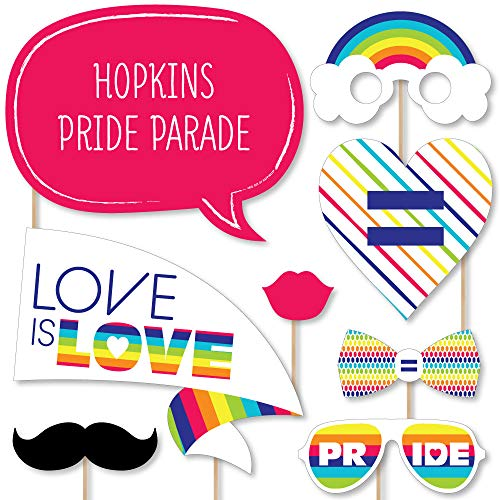 Big Dot of Happiness Custom Love is Love - Gay Pride - Photo Booth Props - Personalized LGBTQ Rainbow Party Supplies - 20 Selfie Props ()