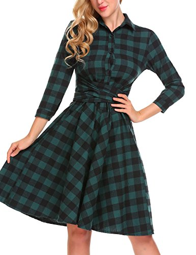 Women Plaid A-Line Dress, Vintage 3/4 Sleeve Pleated Slim Fit Dress with Belted (Lace Belt Belted)