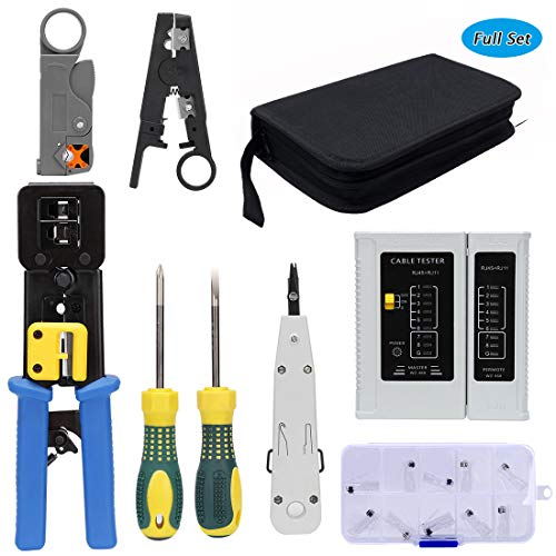 Rj45 Crimping Tool Kit For CAT5/CAT6, Professional Computer Maintenacnce Lan Cable Tester Network Repair Tool Set By SILIVN - Pack of - Crimping Ethernet Tool Cable