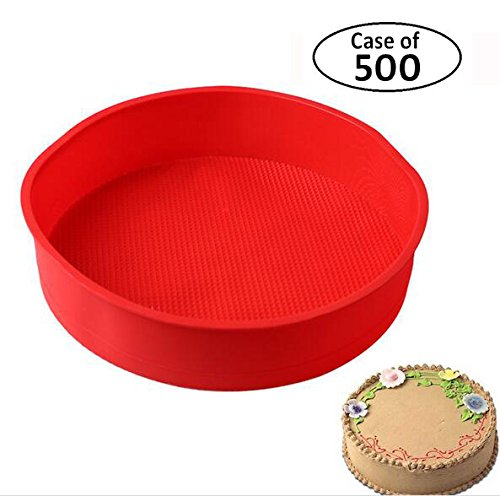 Case of 500pcs,BAKER DEPOT Big Round Silicone Mold for Cake Making Bakeware Red Color