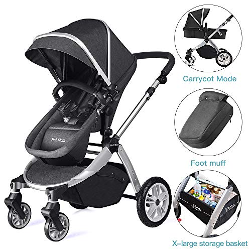 Infant Bassinet Hot Mom 2 in 1 Toddler Stroller Seat and Bassinet Combo,New PU Rubber Wheel,Anti-UV Canopy,Foot Cover…