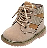 VECJUNIA Boy's Girl's Suede Ankle High Lace Up Non-Slip Martin Boots Shoes (Brown, 8.5 M US Toddler)